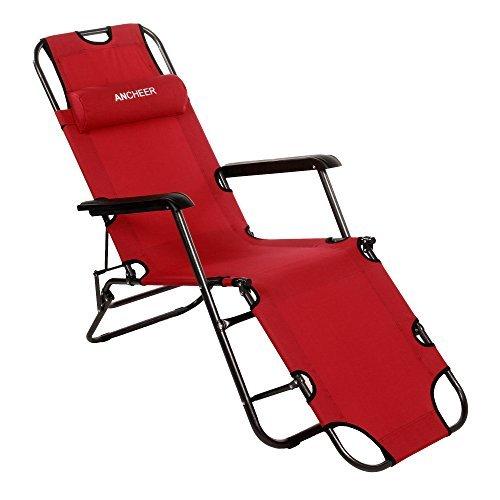 41b+3kRxAbL - Ancheer Sonnenliege Gartenliege Strandliege Sitz-/Liegepositionen ,klappbare Sonnenliege Relaxliege Liegestuhl Klappliege Stahl 178 cm