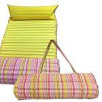 JEMIDI gepolsterte Strandmatte und Schwimmbadmatte 60cm x 180cm Gelb/Rosa mit Kissen