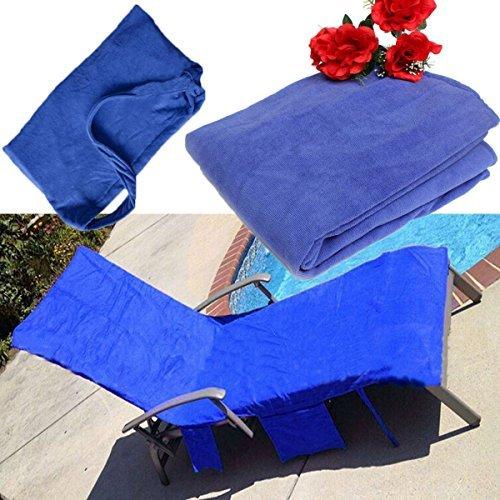 king do way schonbezug fuer gartenliege strandliege liegenbezug mit taschen 211 x 76 cm blau blau - KING DO WAY Schonbezug für Gartenliege Strandliege Liegenbezug mit Taschen 211 x 76 cm Blau Blau