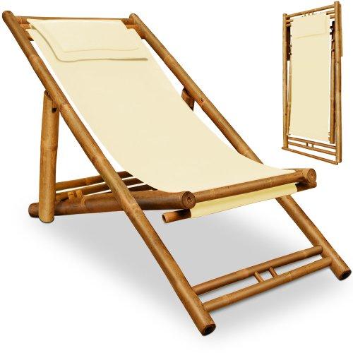 liegestuhl sonnenliege bambusliege gartenliege strandliege beige - Liegestuhl Sonnenliege Bambusliege Gartenliege Strandliege Beige