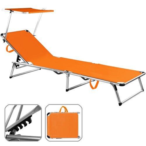 sonnenliege alu sylt orange liege gartenliege strandliege freizeitliege - Sonnenliege Alu Sylt orange - Liege Gartenliege Strandliege Freizeitliege