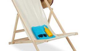 Relaxdays Liegestuhl Holz Holz Strandliege mit Stoffbezug klappbar verstellbar 310x165 - Relaxdays Liegestuhl Holz, Holz Strandliege mit Stoffbezug, klappbar & verstellbar, für Garten, Strand & Balkon, beige