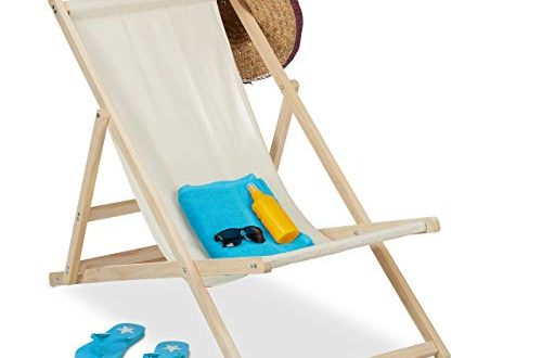 Relaxdays Liegestuhl Holz Holz Strandliege mit Stoffbezug klappbar verstellbar 500x330 - Relaxdays Liegestuhl Holz, Holz Strandliege mit Stoffbezug, klappbar & verstellbar, für Garten, Strand & Balkon, beige