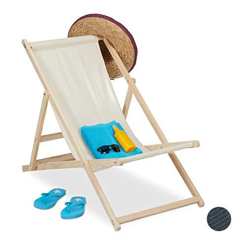 Relaxdays Liegestuhl Holz, Holz Strandliege mit Stoffbezug, klappbar & verstellbar, für Garten, Strand & Balkon, beige