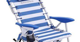 SONGMICS Strandstuhl mit Kopfkissen Aluminium tragbarer Klappstuhl Campingstuhl faltbar und 310x165 - SONGMICS Strandstuhl mit Kopfkissen, Aluminium, tragbarer Klappstuhl, Campingstuhl, faltbar und verstellbar, wie EIN Rucksack tragbar, Outdoor-Stuhl, blau-weiß gestreift GCB62BU